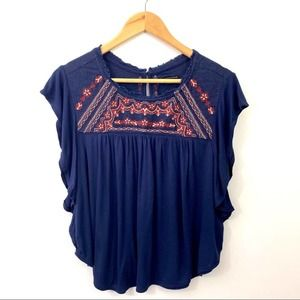 AEO Navy Embroidered Crop Knit Top Small